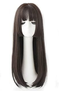 "24.8"" Crown Hairpiece Clip in Large Base for Full Head Wear Topper with Thin Bangs Black"