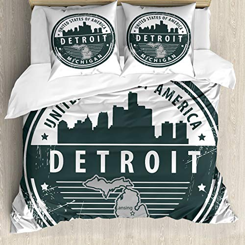 ABAKUHAUS Detroit Bettbezugs Set Für Doppelbetten, Michigan alte Briefmarke, Milbensicher Allergiker geeignet mit Kissenbezügen, Schwarz Weiß