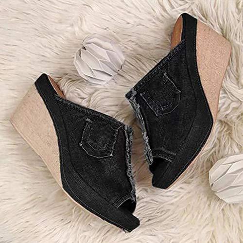 XXXZZL Sandalias de Mujer Tacón de Cuña Plataforma Verano Color Sólido Mezclilla Moda Casual Elegante Peep Toe Shoes Zapatos De Playa Sandals Cuña Peep Toe,Negro,36EU