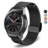 DEALELE Bands Compatible with Samsung Gear S3 Frontier/Classic/Galaxy Watch 46mm / Galaxy Watch 3 45mm, 22mm Stainless Steel Metal Mesh Strap Replacement for Huawei Watch 3 / GT2 46mm (Black)