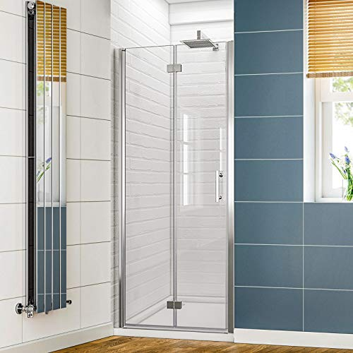 "SUNNY SHOWER Pivot Shower Door Frameless Bi-fold Shower Glass Door, 1/4"" Clear Glass Hinged Shower Door in Chrome Finish, 30.5-32"" W x 72"" H"