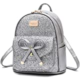 Girls Cute Sequin Mini Backpack for Girls Small Bowknot Leather Purse Fashion Backpack Purse for Women