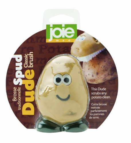 MSC International Joie Spud Dude Potato Vegetable Scrub Cleaner Brush, 3 x 2-Inches, Multi Color