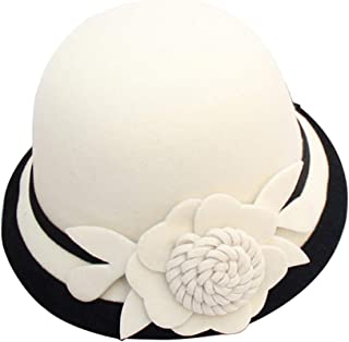 Zonsaoja Cloche Round Hat for Women Beanie Flower Dress Church Elegant British