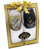 Badeset GLITTER Geschenkbox mit Pantoffeln Duschgel Badesalz - LITSCHI & VANILLE