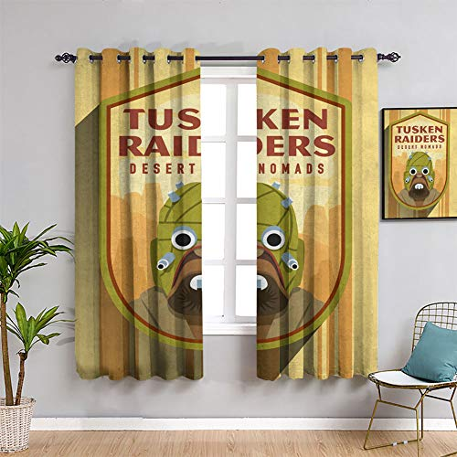Star Wars Badges Tusken Raiders - Cortinas opacas con ojales sólidos para habitaciones de niños, 163 x 182 cm