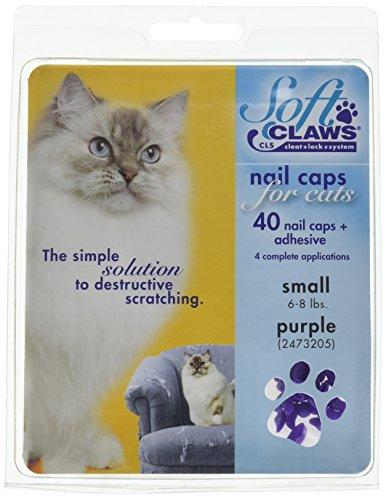 SOFT CLAWS Kit de Protège-Griffes pour Chats Adultes, Small, Violet