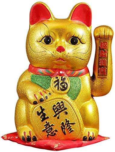 """SCRT Crafts 9"""" Lucky Cat 生意興隆 Waving Arm Cat Porcelain Maneki Neko Gift"""