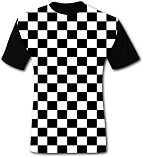 Men's T-Shirts Black & White Checkerboard Squares 3D Floral Print T-Shirt Comfy Casual Tops for Men Tees