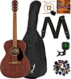 Fender CC-60S Solid Top Concert Size Acoustic Guitar Bundle with Gig Bag, Tuner, Strap, Strings, Picks, Fender Play Online Lessons, and Austin Bazaar Instructional DVD - Mahogany