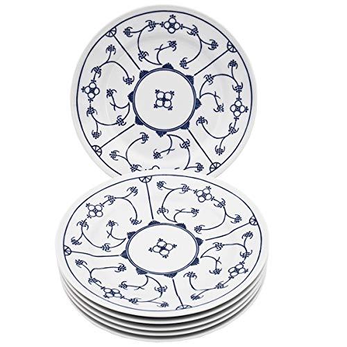 Kahla 17A208A72067U Blau Saks Porzellan Kobalt Geschirr Tellerset für 6 Personen 6-teilig Kuchenteller Dessertteller 19 cm rund blauweiß kleine Snackteller