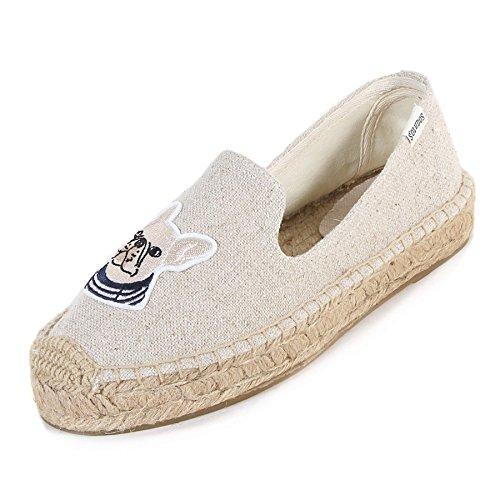"""Soludos Women'sTeddy & Gigi 1"""" Platform Smoking Slipper Sand, Size 6.5"""