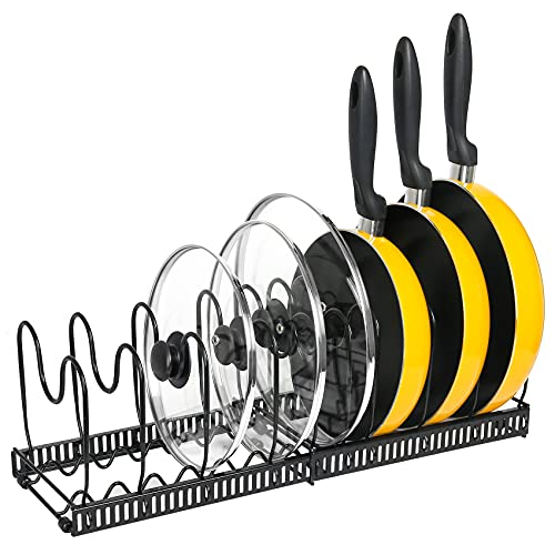 Pot Organizer Rack for Cabinet -Expandable Pots and Pans Organizer, Pot Holder Rack Fit for Kitchen Counter and Cabinet Pot Pan Lid Rack Bakeware Organizer Rack Holder with 10 Adjustable Compartments