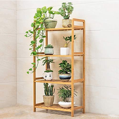 HLQW Tablette à fleurs en bambou, balcon, salle de séjour, support à pots de fleurs à plusieurs étages, support pour fleurs à plantes charnues, 4 étages, 50 cm de long