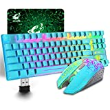 Wireless Gaming Keyboard and Mouse Combo with 87 Key Rainbow LED Backlight Rechargeable 3800mAh Battery Mechanical Feel Anti-ghosting Ergonomic Waterproof RGB Mute Mice for Computer PC Gamer (Blue)