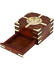 ITOS365 Large Decorative Wooden Ashtray with Cigarette Storage Case Box Drawer
