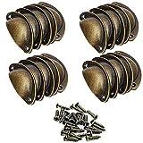 SJUNJIE 20 Piezas Tiradores de Muebles Antiguos Perillas de Metal Vintage Manillas Asa Concha para Puertas de Armario Gabinete Cómoda Cajones Cocina Baño(Latón)