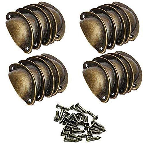 SJUNJIE 20 Pezzi Pomelli Vintage Shell Porta 82mm Shabby Manopole del Cassetto de Cucina Armadietto Tirare Maniglia per Armadio Credenza Cassetti Mobili (Ottone)