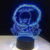 Solo 1 artículo payaso Pennywise Figura 3D Lámpara de noche LED para decoración de la sala de oficina Usb Powered Halloween Movie It Capítulo uno Lámpara de mesa