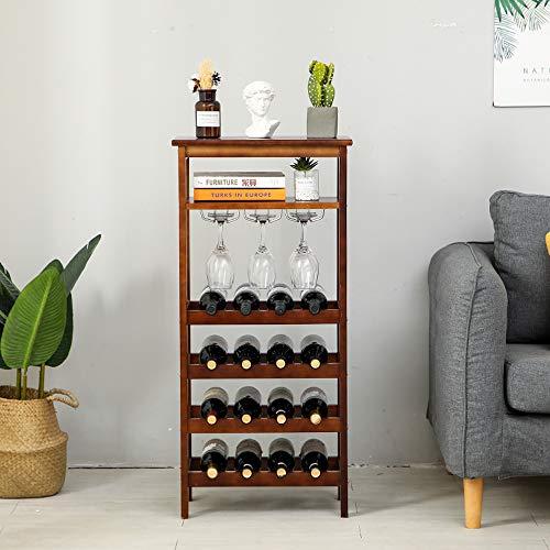 HUIJ Botellero Estante de Vino Armario de Vino de Madera Maciza Botelleros Vino Inicio Piso Sala Estante Vino Anticorrosión,no es fácil de deformar.Adecuado para hogar/Cocina,etc.(Blanco,marrón)