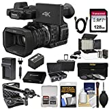 Panasonic HC-X1000 4K Ultra HD Wi-Fi Video Camera Camcorder with 128GB Card + Battery & Charger + Microphone + Case + LED Light & Flash + Kit