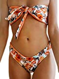 Women Bikini Set Swimsuit Strapless Swimsuit Low Waist Beach Pool Party Thong 2 Pieces Bikinis Swimsuit (Orange, M)