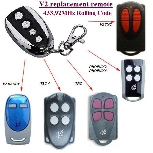V2 TXC2, TXC4, HANDY2, HANDY4 compatible mando a destancia, 433,92Mhz rolling code CLON, 4-canales reemplazo transmisor Al mejor precio!!!