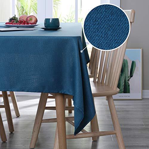 Deconovo Leinenoptik Tischdecke Wasserabweisend Tischwäsche Lotuseffekt 137x200 cm Dunkelblau