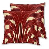 Juego de 2 fundas de cojín, diseño abstracto de seta Art Deco rojo cuadrado funda de almohada suave funda de cojín para el hogar, sofá, cama, oficina, 45,7 x 45,7 cm