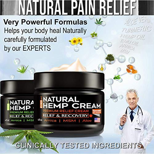 (2 Pack) Hemp Pain Relief Cream - Hemp Cream for Pain Relief and Inflammation   Relieves Knees, Joints & Back Muscle   Made in USA   Natural Hemp Oil Extract with MSM & Arnica   8oz