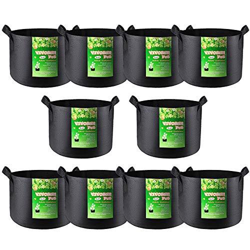 VIVOSUN 10-Pack 1 Gallon Grow Bag, Reinforced Planter Fabric Pot for Gardening