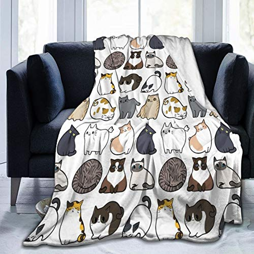 FENTINAYA Fleece Sofa Blanket For Sofas And Beds, Soft Fuzzy Plush Air-Conditioning Blanket Flannel Cats Cats Cats Blanket, Super Cozy And Comfy For All Seasons (50X40in)