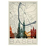 artboxONE Poster 60x40 cm Städte Retro Map Basel and