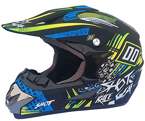 ZGYZ Casco de Motocross, Casco de MTB con Gafas de Red, Casco de protección para Motocicleta, Quad, Todoterreno, Hombres, Mujeres, jóvenes, 5 Piezas