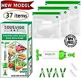 Sous Vide Bags - Must-Have for Sous Vide Cooker - 30 Reusable Food Vacuum Storage Bags - Sous Vide Bag Kit - 3 Sizes BPA Free Bags for Sous Vide Cooking (Premium)