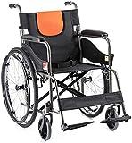 IREANJ Silla de ruedas autopropulsada – Ultraligera plegable transporte viaje cómoda silla de ruedas con bolsa de mano, pedal ajustable para ancianos