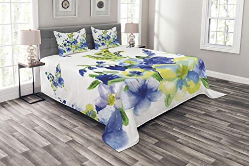 Ambesonne Yellow and Blue Bedspread, Spring Flower Watercolor Flourishing Vibrant Blooms Design, Decorative Quilted 3 Piece Coverlet Set with 2 Pillow Shams, Queen Size, Royal Blue