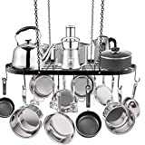 Hanging Pot Rack, Ceiling Mount Pot and Pan Rack, Multi-Purpose Cookware Hanger Organizer Storage with 10 Pot Hooks for Home Kitchen