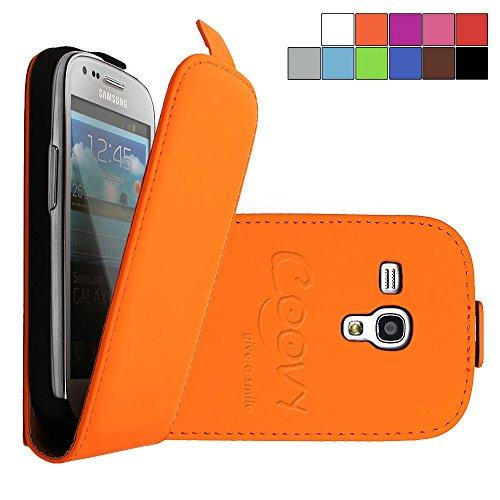COOVY® Funda para Samsung Galaxy S3 Mini GT-i8200 GT-i8190 GT-i8195 Cubierta Delgado, con Tapa, lámina Protectora de Pantalla | Color Naranja