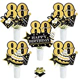 80th Birthday Party Centerpiece Sticks - Cheers To 80 Years Anniversary Decoration - Set of 24 Golden Glitter Table Toppers Eighty Years Old Birthday Party Table Supplies