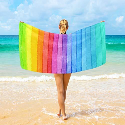 Ahomy Telo Mare Colorato A Righe Acquerello Arcobaleno Grande Microfibra Per Adulti Bambini 94X188 Cm Asciugatura Rapida Leggero Super Assorbente Asciugamano Da Viaggio