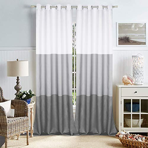 Bold Striped Window Curtains, Grey Color Block Curtain Panels, Geometric Gray Striped Curtain Drapes, Room Darkening Curtain with Grommets for Bedroom Living Room, Set of 2 Panels, 52 x 84 Inch Length