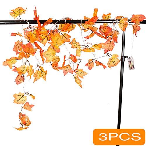 Fall Decorations,Fall Garland,Fall Wreath,Thanksgiving Decorations Lighted Fall Garland   8.2 Feet   20 Lights (3PCS)