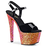 Pleaser - 7' Heel, 2 3/4' PF Ankle Strap Sandal - 8 - Blk Pat/Red Multi Glitter