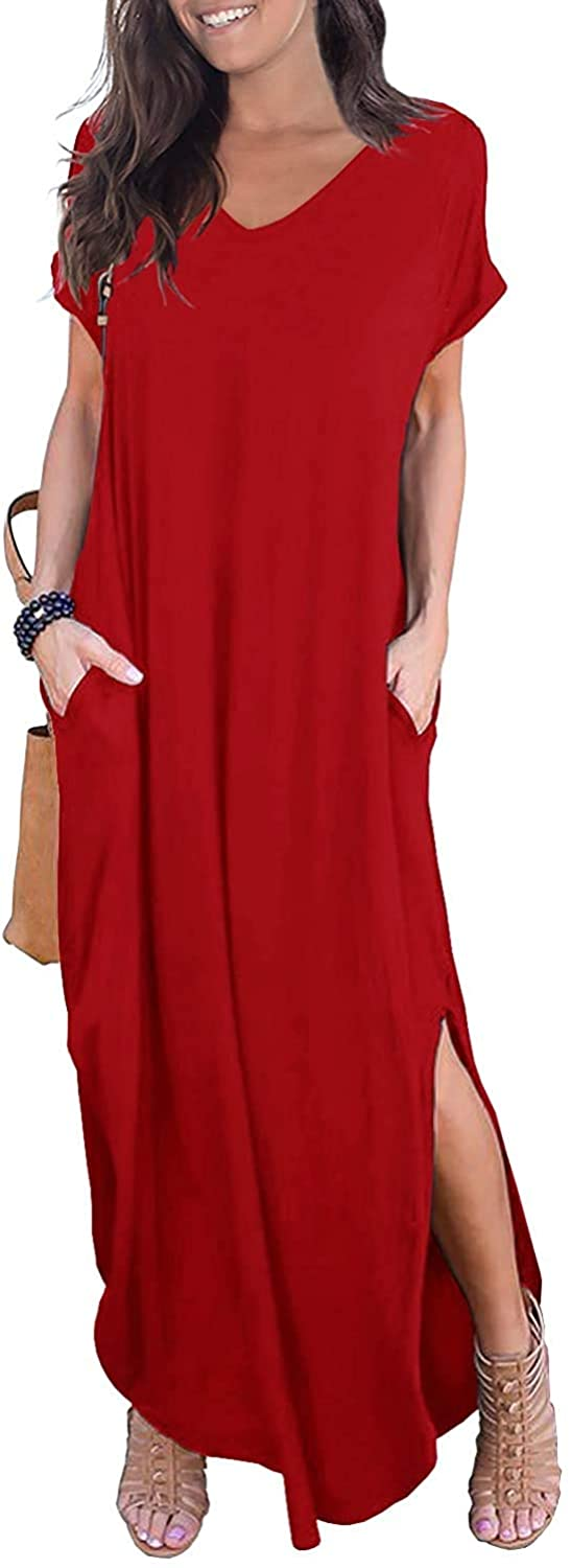 SouqFone Women's Casual Maxi Dresses Beach Cover Up Short Sleeve Split Long Loose Dress with Pockets