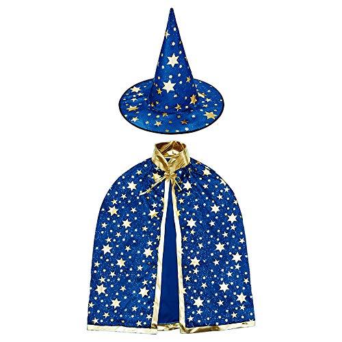 HomeMall Kinder Halloween Kostüm, Hexe Zauberer Umhang mit Hut für Kinder (Magie Blau)