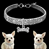 Dogs Kingdom Amazing 3 Rows Rhinestones Necklace Pet Cat Dog Collar Bling Rhinestone Bone Jewelry Party Wedding Accessories,White,S:8-10' Neck