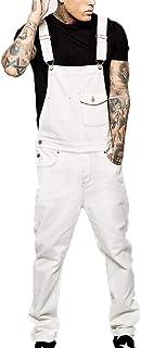 huateng Men's Slim Bib Overalls Dungarees Cotton Jumpsuits