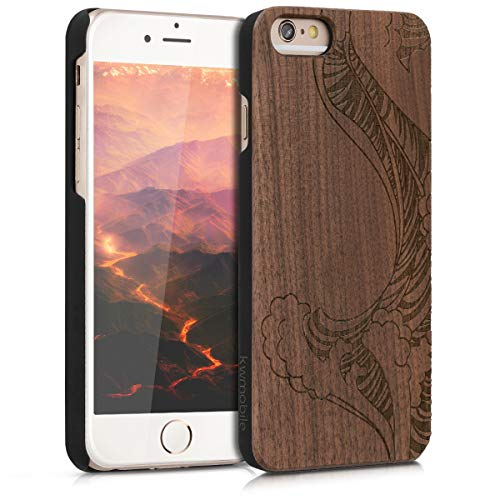 kwmobile Cover Compatibile con Apple iPhone 6 / 6S - Custodia Protettiva in Legno - Back Case Posteriore per Smartphone - Onde Marrone Scuro
