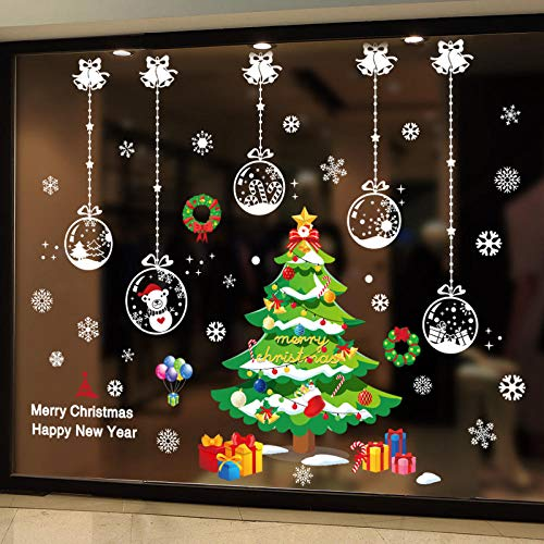 Pegatinas navideñas para ventanas, vinilo, bolas de bricolaje, árbol, calcomanías de pared para sala de estar, dormitorio, vidrio, decoración de Año Nuevo